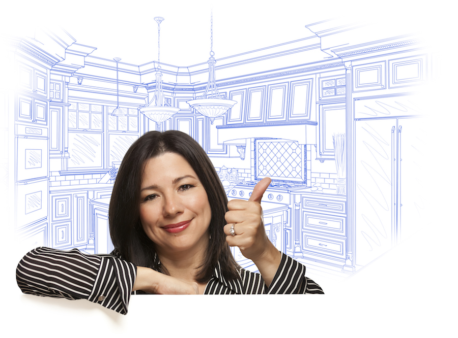 Happy Hispanic Woman with Thumbs Up and Custom Kitchen Drawing Behind on White.