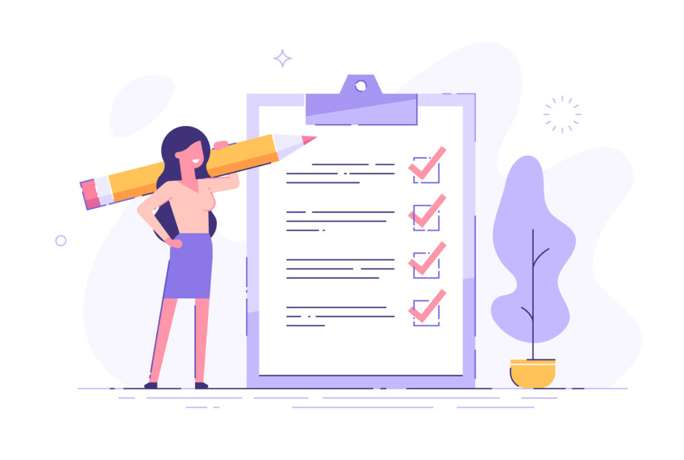 Woman with clipboard checklist